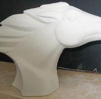 """Duncan 1540 modern horse bust (HR 48)  11""""W  bisqueware"""