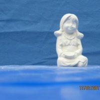 "kimple 2560 maiden indian kid   3.1/2""H   bisqueware"