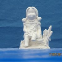 "kimple 2712 aug indian calendar kid  4.1/2""H   bisqueware"