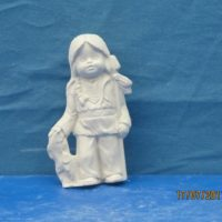 "kimple 2712 july indian calendar kid  4.1/2""H  bisqueware"