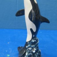 """doc holiday 1449 single killer whale (FIS 10)  12""""H  bisqueware"""
