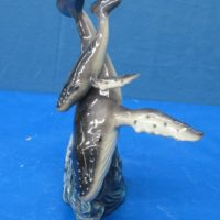"""doc holiday 1454  humpback whale  & baby (FIS 25)  12""""H  bisqueware"""