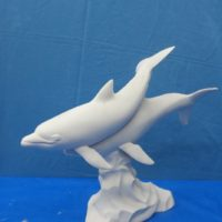 doc holiday  1532 large dolphins (FIS 90)  bisqueware