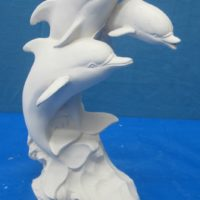 """gare 2914/2915 lge dolphins on wave w/baby (FIS 1)  14""""H  bisqueware"""