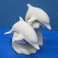 """gare 2916 double dolphins (FIS 78,79,80)  8""""H  bisqueware"""