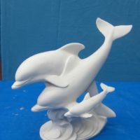 georgies 1049 dolphin family on wave (FIS 11)  bisqueware
