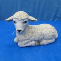 scioto 1558: lge lying lamb looking left (SH 14)  bisqueware