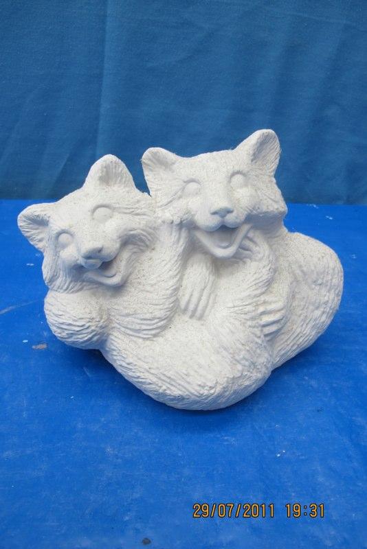 duncan 1071 twin raccoons (RA 12)  bisqueware