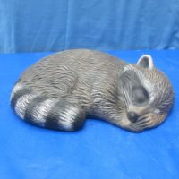 alberta 763 lge lying raccoon (RA 13)  bisqueware
