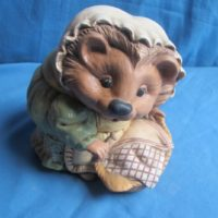 "gare 1340 hazel hedgehog w/peg basket (HD 11)  7""H  bisqueware"