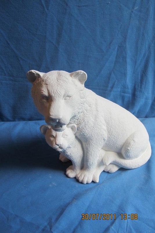 """scioto 2974 lge nurturing tiger (WL 11)  11""""H   bisqueware"""