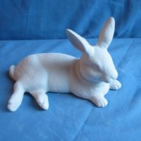 scioto 2485:. nursing rabbit (RB 19)  bisqueware