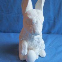 """ceramichrome 1884 rabbit sitting w/egg (RB 23)  10.75""""H,2.5""""dia  bisqueware"""