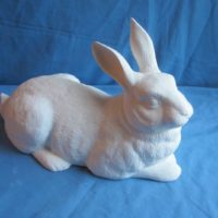 "duncan 1778 mother lying rabbit (RB 15)  7.5""H,14.33""L,6.5""W  bisqueware"