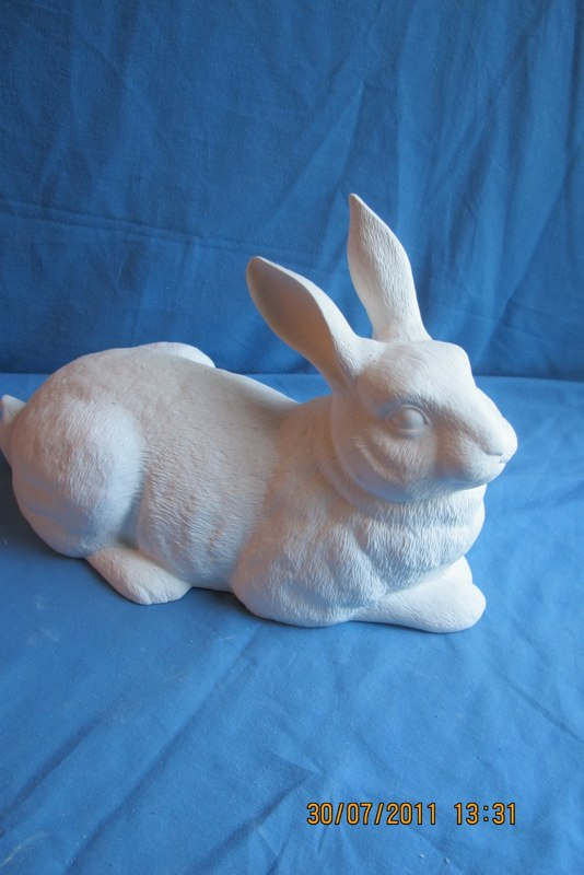 """duncan 1778 mother lying rabbit (RB 15)  7.5""""H,14.33""""L,6.5""""W  bisqueware"""