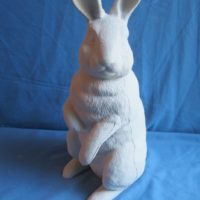 "duncan 1769,1770 father rabbit standing (RB 12,13)  16.75""H,7""W  bisqueware"