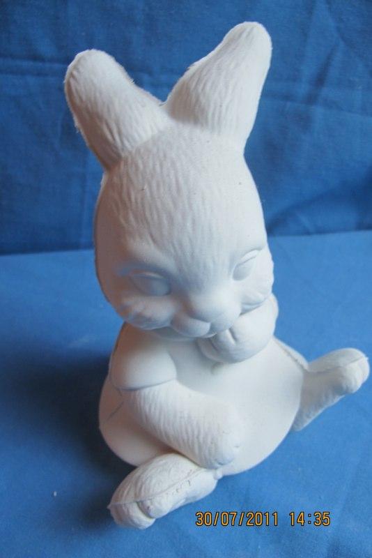 scioto 1066 girl rabbit w/clothes  bisqueware