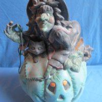 "ceramichrome 1532 lge witch on pumpkin (SP 55) (3molds) 14""H  bisqueware"