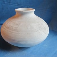 VASE 5 yozie 339 fatso vase thrown  15cmH,21cmW  bisqueware