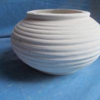 VASE 205 pottery squat vase `10cmH,19cmW  bisqueware