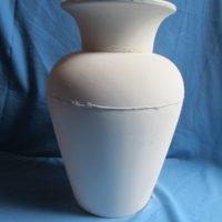 "VASE 286 duncan 1969 13"" plain vase w/duncan 1970 neck 3""  bisqueware"