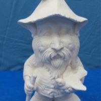 scioto TL543 lge gnome w/bird & stick(GNOM14)  bisqueware