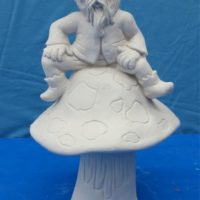 scioto TL800 gnome on mushroom (GNOM31)  bisqueware