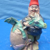 """doc holiday 1437 tender dragon keeper gnome(GNOM 2)  7.1/2""""H  bisqueware"""