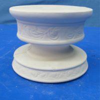 country round block candlestick  (CA8)  bisqueware