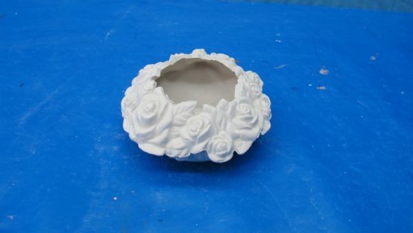 "atlantic 1801 rose candle holder /bowl (CA 42)  5""Dia  bisqueware"