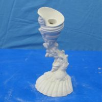 """gare 918 shell candlestick  8""""H  bisqueware"""