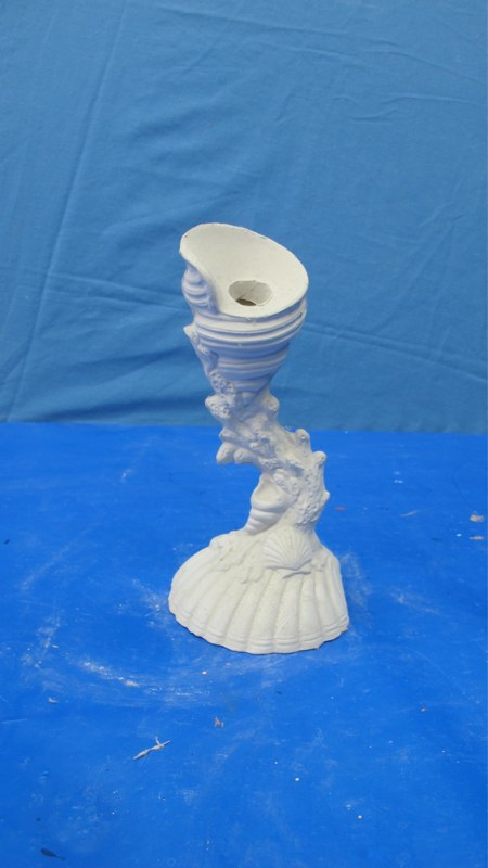 "gare 918 shell candlestick  8""H  bisqueware"