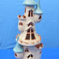 "Scioto 3162,3164 medium & large castles/candle holders (HO 12,13) 23""H  bisqueware"