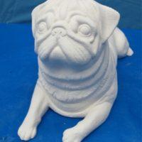 "scioto 2790: lge pug dog (DG 23)  15""L  bisqueware"