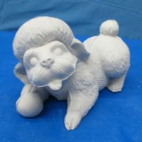 gare L-565 poodle lying w/ball(DG144)  bisqueware