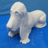yozie 320 lge basset hound lying w/colar (DG131)  bisqueware