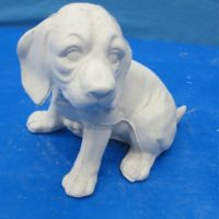 yozie 879 beagle pup sitting (DG115)  bisqueware