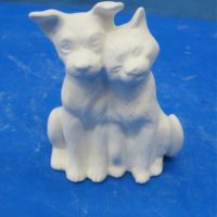 kimple  634 sml cat & dog (DG 117)   bisqueware