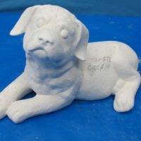 duncan 1361,1362 rottweiler puppy lying (DG 120)  bisqueware