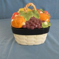 "duncan 1750/1799 sml fruit lattice canister  3.5""H,7.75""W,7.75""D,Lid 4""H  bisqueware"