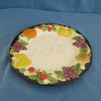 "duncan 1893  fruit lattice salad/lunch plate  0.88""H,8.88""W  bisqueware"