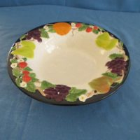 "duncan 1801 fruit lattice bowl    2.5""H,12.75""W  bisqueware"