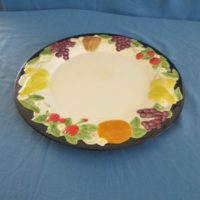 "duncan 1894 fruit lattice dinner plate  1.13""H,11.68""W  bisqueware"