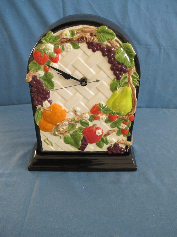 """duncan 1806/1497 fruit lattice wall clock or on base (CL 9)  10""""H,  bisqueware"""