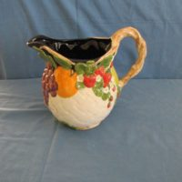 "duncan 1802 fruit lattice pitcher  8.63""H,10.25""W,8.75""D  bisqueware"