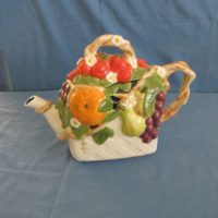 "duncan 1807/1808 fruit lattice teapot   9.75""H,5.5""D  bisqueware"