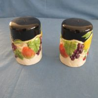 "duncan 1896 fruit lattice salt & pepper   4""H,3""W  bisqueware"