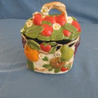 "duncan 1834 fruit lattice sugar  4.5""H,3.38""D  bisqueware"