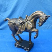 "Atlantic 1321:  ming horse on base (HR 74)  10""H  bisqueware"
