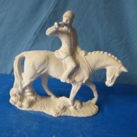 "Doc holiday 1148 hunt master on horse (HR 7) 10""H,10.5""L  bisqueware"